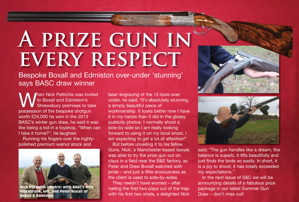 Article from BASC magazine showing the shotgun prize