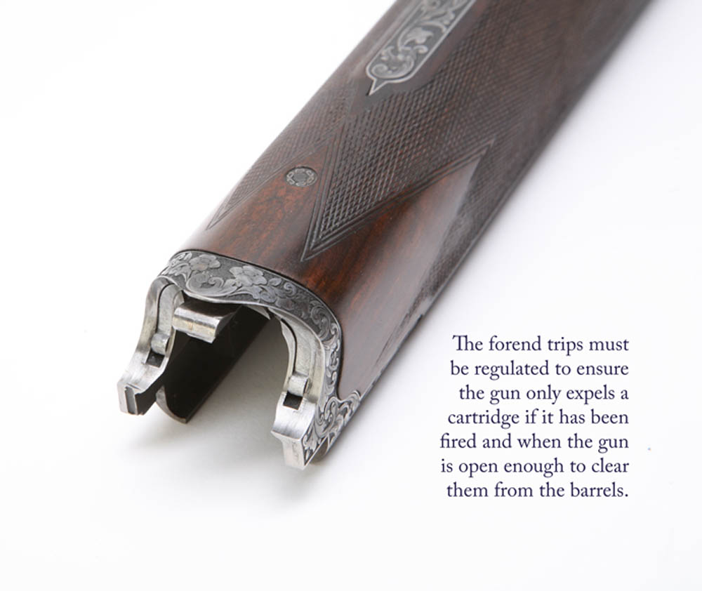 Forend-trips-regulated finishing processes of a shotgun
